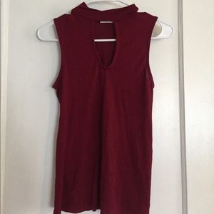 Maroon Key-Hole Sleeveless Shirt